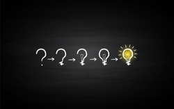Black Board Illustration with a concept of a question mark converting into a idea light bulb in chalk art - Vector
