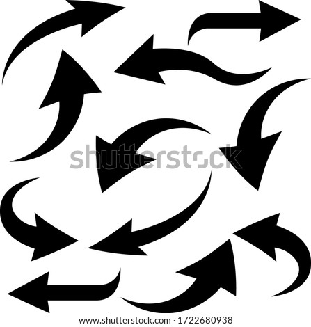 Black bold arrows. Bent curved signs. Vector illustration isolated on white background Stock fotó ©