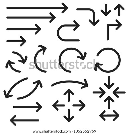 Black bold arrows set. Set of icons. Vector illustration isolated on white background #1052552969