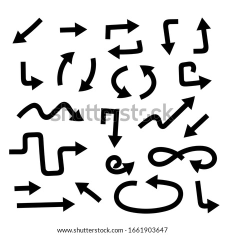 Black bold simple arrows and arrow combination. Web icons. Vector illustration isolated on white background