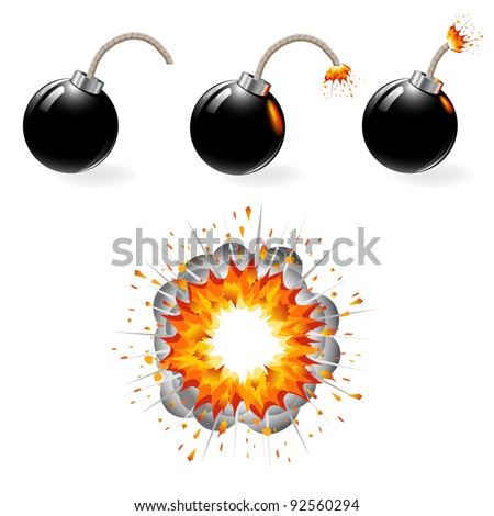 black bomb burning  explosion