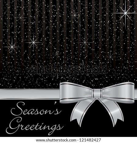 Black bow and stars Christmas card in vector format.