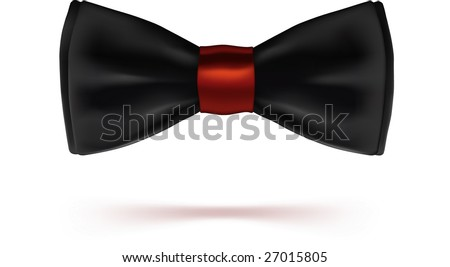 Black bow-tie with red knot. VECTOR, made with gradient mesh.