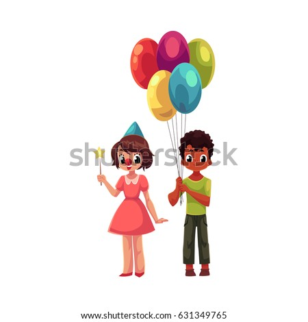 Black Boy With Bunch Of Balloons And Caucasian Girl In Birthday Cap Cartoon Vector Illustration