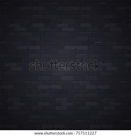 Black brick wall pattern background surface, vector illustration. Stone block structure brickwall, urban design wallpaper
