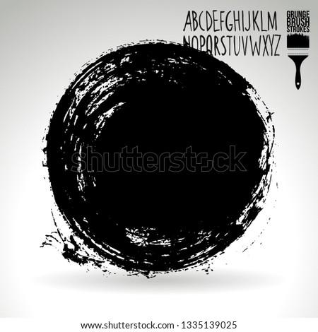 Black brush stroke and handwritten alphabet. Grunge vector abstract hand - painted element. Underline and border design. #1335139025
