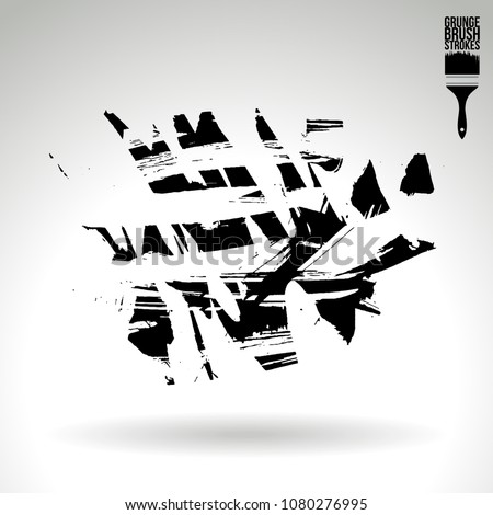 Black brush stroke and texture. Grunge vector abstract hand - painted element. Underline and border design. #1080276995