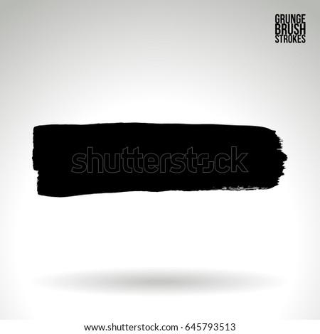 Black brush stroke. Grunge vector abstract hand - painted element. Underline and border design.