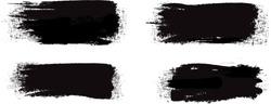 Black brush stroke set isolated on white background. Trendy brush stroke vector for black ink paint, grunge backdrop, dirt banner, watercolor design and dirty texture. Brush stroke vector illustration