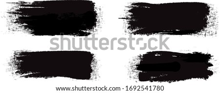 Black brush stroke set isolated on white background. Trendy brush stroke vector for black ink paint, grunge backdrop, dirt banner, watercolor design and dirty texture. Brush stroke vector illustration