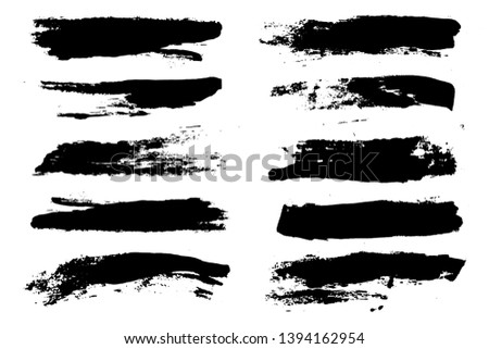 black brush strokes vector set backgrounds. Artistic lines grunge collection boxes, frames for text. Set of black grungy hand painted brush strokes isolated on white.