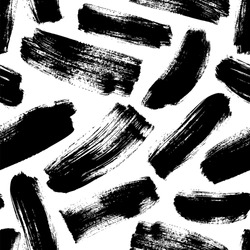 Black brushstrokes hand drawn seamless pattern. Monochrome grunge texture. Black dry brush strokes drawing. Abstract paint swabs on white background. Geometric wrapping paper, textile vector fill.