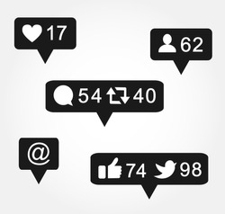 Black bubble notification icon set for following websites,blog, interfaces facebook twitter instagram. Vector illustration social media eps 10