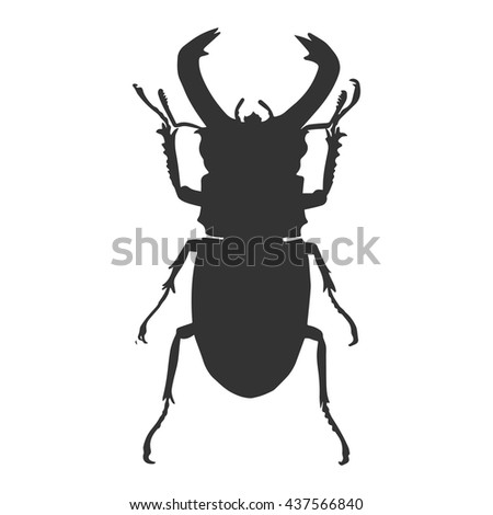 Black bug silhouette vector illustration.