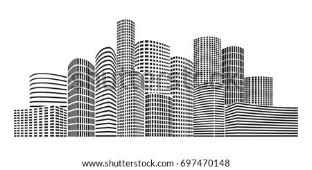 Black buildings. City Skyscrapers illustration. Urban scene. Vector design element isolated on white background.