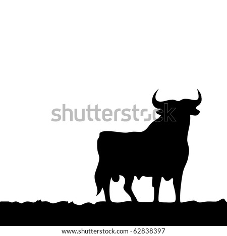 Black bull, symbol of southern Spain. Vector.