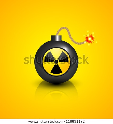 Black burning bomb with nuclear symbol isolated on yellow background