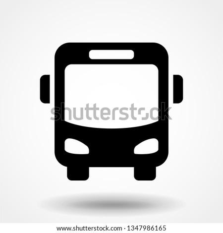 black bus icon isolated on white background ストックフォト ©