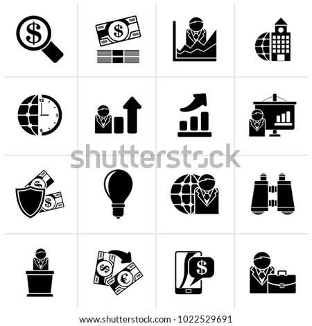 Black Business and Finance Strategies  Icons  - vector icon set