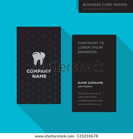Black business card design template for dentist on cyan background, tooth logo