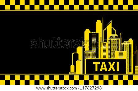 black business card with taxi and night city skyscrapers