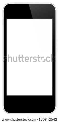 Black Business Mobile Phone Vector In iPhone Style Isolated On White Background