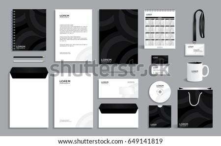 Black business stationery set template