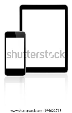 Black Business Tablet And Smart Phone Similar To iPad And iPhone With Reflection On White