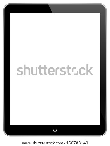 Black Business Tablet Similar To iPad Air With Power Button Isolated On White