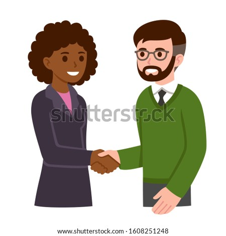 Black business woman and white man with beard and glasses shaking hands. People in corporate meeting, workplace communication, job interview. Modern cartoon style vector clip art illustration.