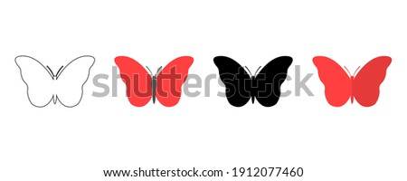 Black butterfly icon. Outline butterfly icon. Paper butterfly. Colored butterfly. Vector illustration Stockfoto ©