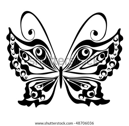 stock vector : lack butterfly