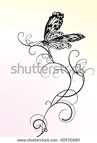 black butterfly ornate