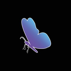 Black Butterfly Shape From Side View blue gradient vector icon