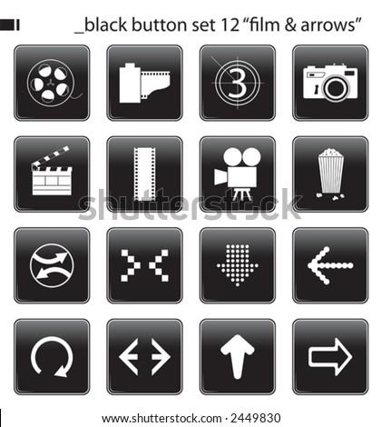 """black button set 12 """"film & arrows"""""""