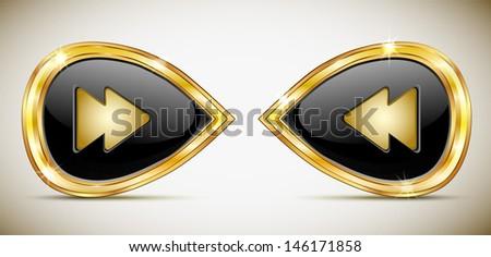 Black buttons in gold frame. Navigation. Vector.