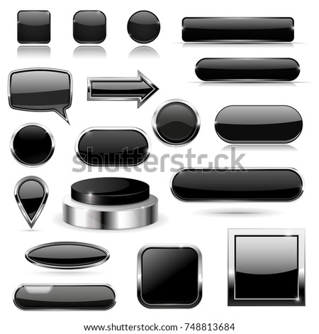 Black buttons with metal frame. Vector 3d illustration isolated on white background