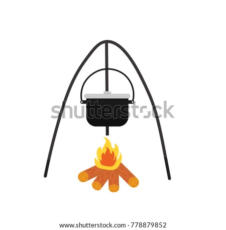 Black camping pot over a bonfire vector flat illustration isolated on a white background. Flat vector illustration.