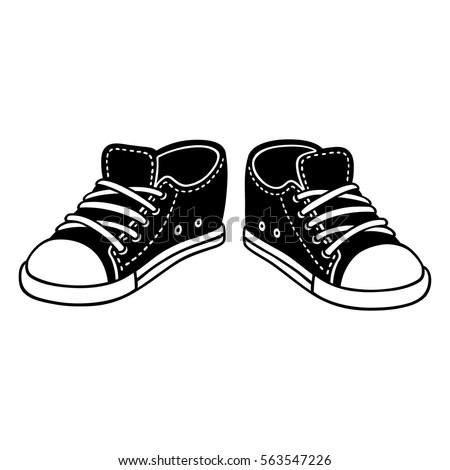 black canvas sneakers cartoon