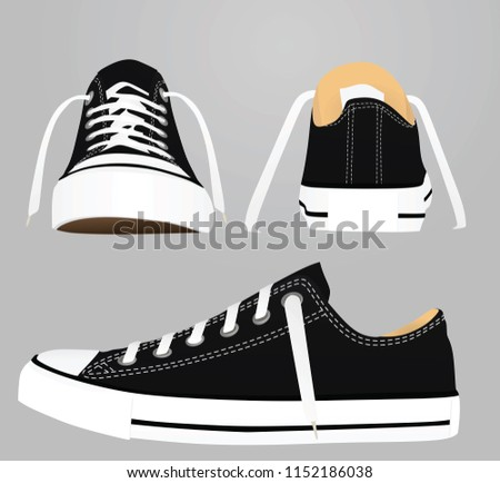Black  canvas snickers. vector illustration