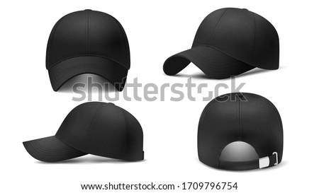 Black cap Mockup, realistic 3D. Hat blank template, baseball caps, vector illustration set. Collection of modern realistic fashion accessories,headgear,headwear, headdress