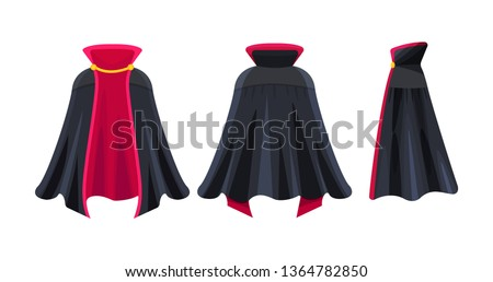Black cape realistic, superhero cape, dracula vampire carnival costume. Mockup festive costumes are front, back and side view. Carnival clothes, masquerade fancy dress . Vector illustration.