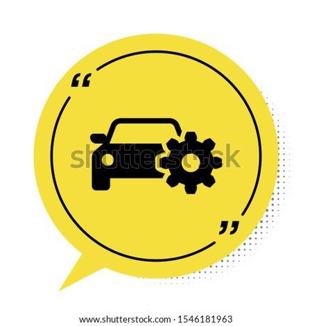 Black Car service icon isolated on white background. Auto mechanic service. Mechanic service. Repair service auto mechanic. Maintenance sign. Yellow speech bubble symbol. Vector Illustration