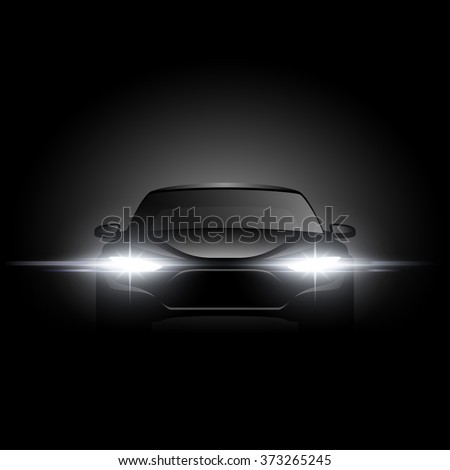 black car silhouette with light