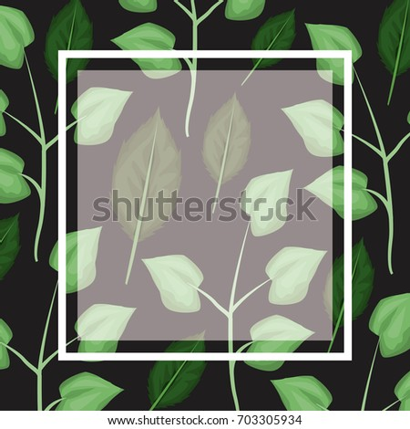 black card background with decorative leaves plants pattern and square frame #703305934