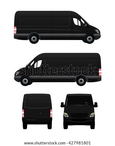 black cargo van from four view
