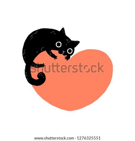 Black cartoon cat biting a huge heart. Valentine's Day greeting card.