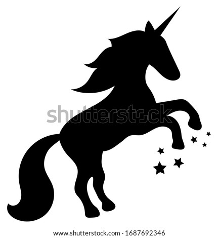 Black cartoon silhouette of a unicorn horse rearing up, with a flying mane and six stars from under its hooves. White background. Vector graphics, illustration