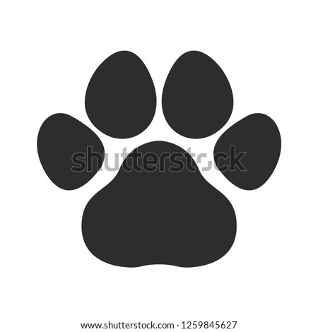 Black cat and dog animal  paw.  Pet footprints icon vector design
