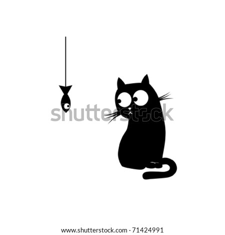 black cat and fish vector